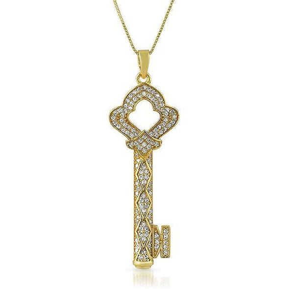 Antique Key Gold .925 Sterling Silver CZ Pendant