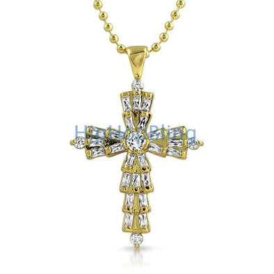 Custom Baguette Cross White CZ on Gold