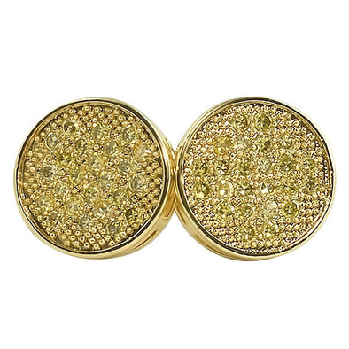 Lemonade Circle CZ Micro Pave Earrings