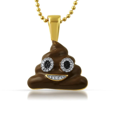 Emoji Brown Enamel Poop Face CZ Gold Bling Pendant (Free 36 Inch Bead Chain)