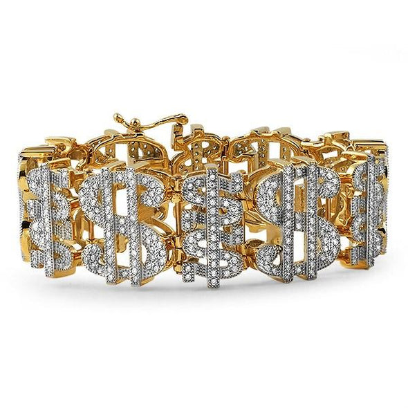 Gold Cash Money Dollar Sign CZ Bracelet Steel
