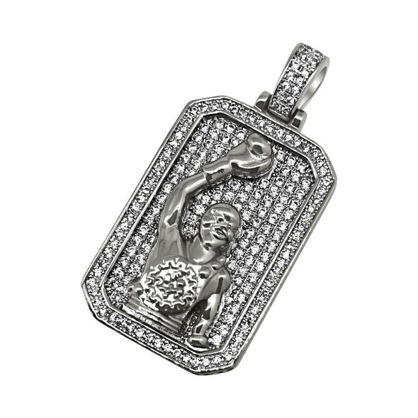 .925 Silver Rhodium Boxing Champion CZ Bling Bling Pendant