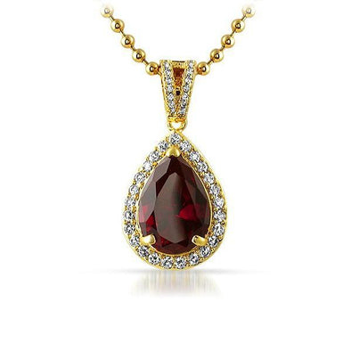 Rick Ross Style .925 Silver Red Gem Pendant Gold