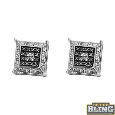 Black and White Diamond Box Bling Earrings