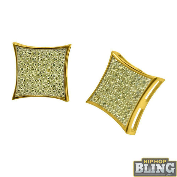 Canary CZ Gold XXL Kite Hip Hop Earrings