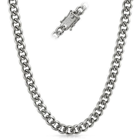 CZ Clasp 10MM Cuban Chain Stainless Steel