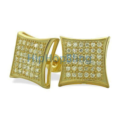 Large Puffed Kite Gold Vermeil CZ Micro Pave Earrings