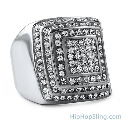 Bling Steps Stainless Steel Iced Out Ring