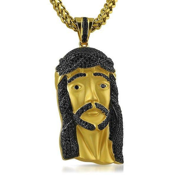 Gold .925 Silver Large Jesus Piece Black Stones (Pendant Only)