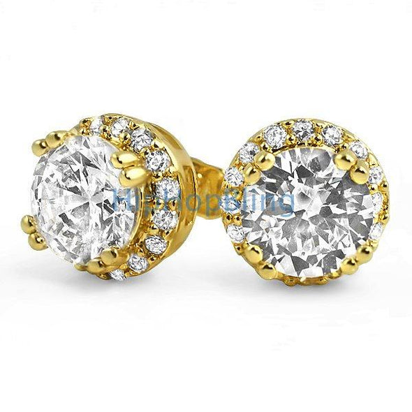 Iced Out Border Solitaire Gold Bling Bling Earrings