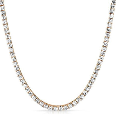 Asscher 4MM 1 Row CZ Rose Gold Tennis Chain