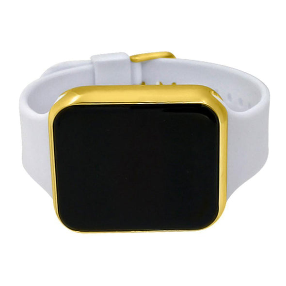 LED Touch Screen Gold Rectangle Watch White Band
