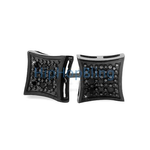 All Black Small Kite Silver CZ Micro Pave Iced Out Earrings