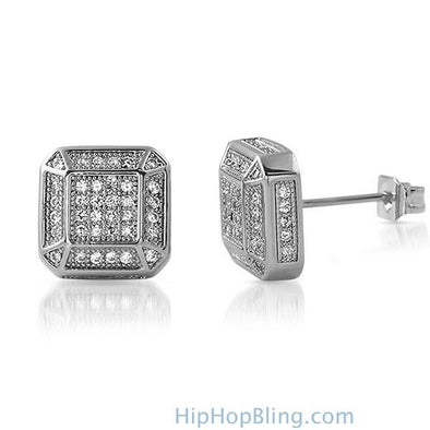 3D Smooth Box Rhodium CZ Micro Pave Bling Earrings