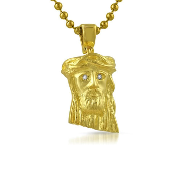 VS Diamond Gold Nano Jesus Pendant .925 Silver