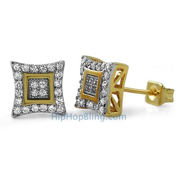 Double Kite M Gold CZ Micro Pave Earrings