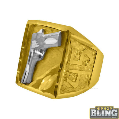 10K Gold Mens 45 Gun Mens Ring
