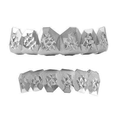 Custom Grillz Diamond Cut Rhodium Set