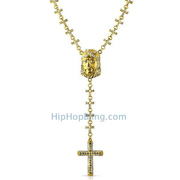 Gold Jesus Piece Cross Link Totally Iced Out Rosary Necklace
