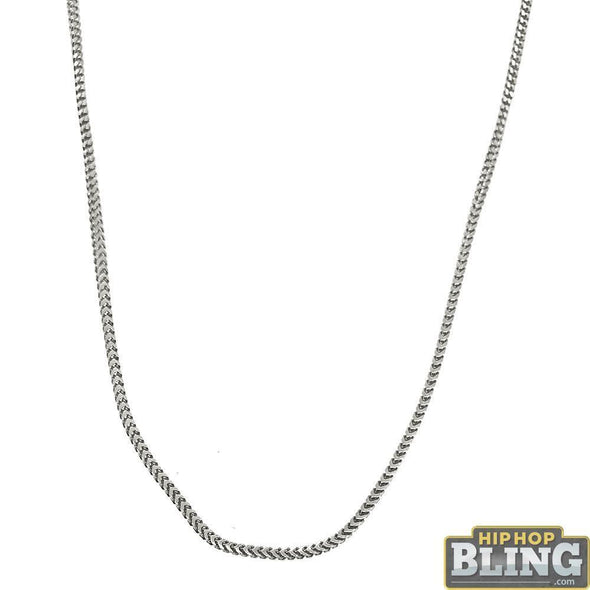 .925 Sterling Silver 1MM Franco Chain Rhodium