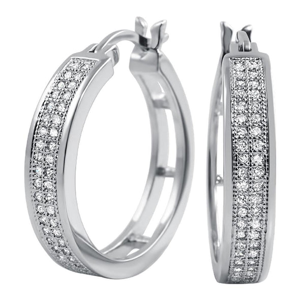 Bling Bling Hoops 25mm CZ 2 Row Micro Pave Earrings