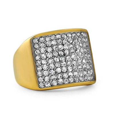 Gold Stainless Steel Classic Bling Bling Ring