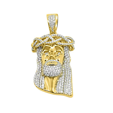 14K Yellow Gold 1.94 Carats Diamond Medium Jesus Pendant