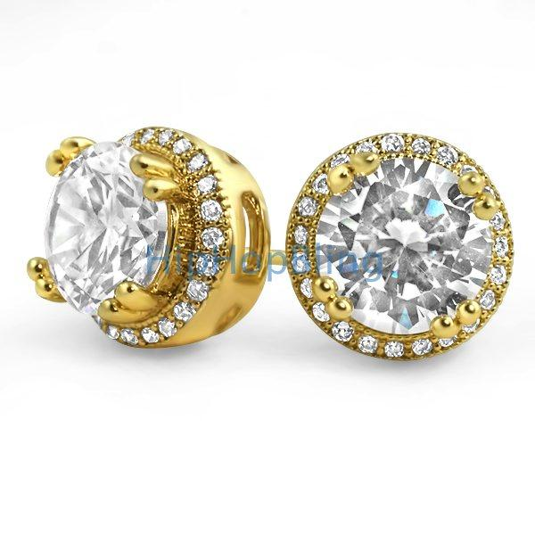 129502e288357 Pave Ice Border Gold CZ Solitaire Bling Bling Earrings
