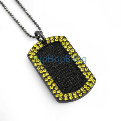 Iced Out Blizzard Yellow & Black Dog Tag+ Chain