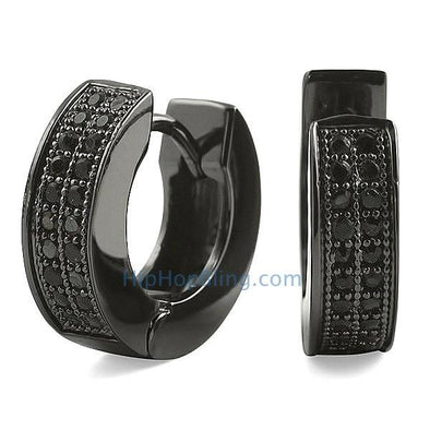 2 Row Huggie Black CZ Micro Pave Hoop Earrings