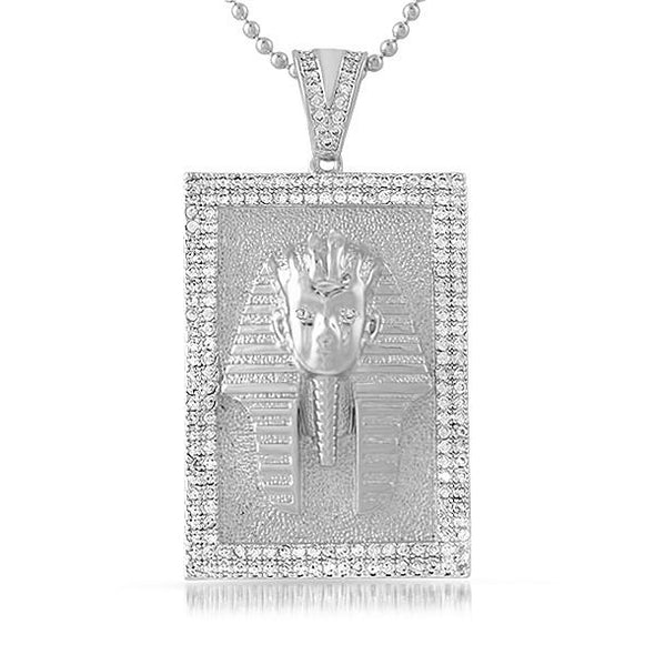 Egyptian Pharaoh Rhodium Block Medallion