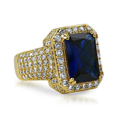 Fully iced Out Lab Sapphire Hip Hop Gold Ring