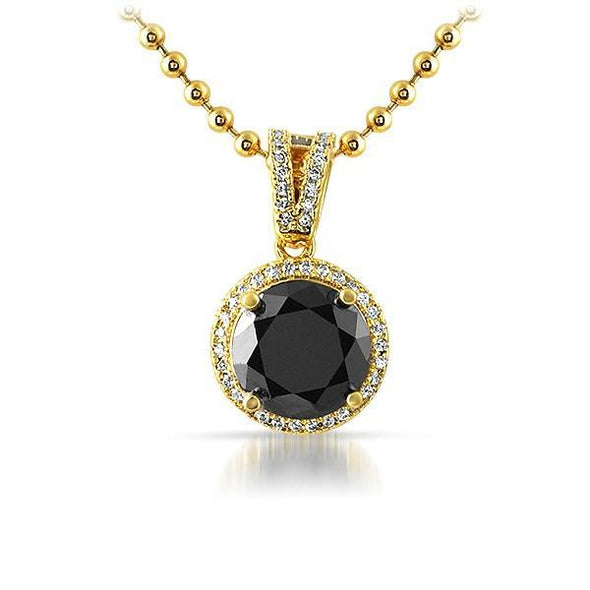.925 Silver Gold M Round Black Gem CZ Pendant (Free 36 Inch Bead Chain)
