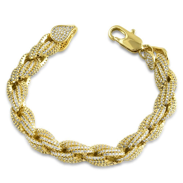 Gold Rope 10MM CZ Bling Bling Bracelet