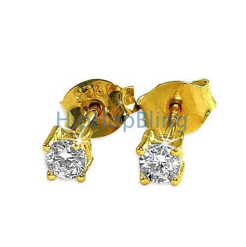 3mm Round Signity CZ Gold Vermeil Earrings