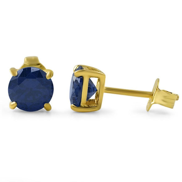 Lab Sapphire Round Stud Earrings Gold .925 Silver (4MM)