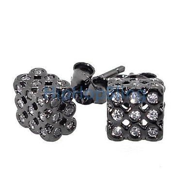 3D Bezel Cube White CZ Black .925 Silver Hip Hop Earrings
