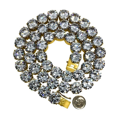 15MM Gold Steel CZ Bling Bling Tennis Chain