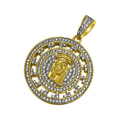 Jesus Greek Pattern Gold CZ Circle Pendant