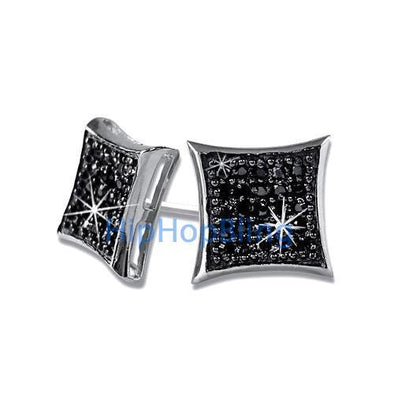 Kite Medium Black CZ Iced Out Micro Pave Earrings .925 Silver