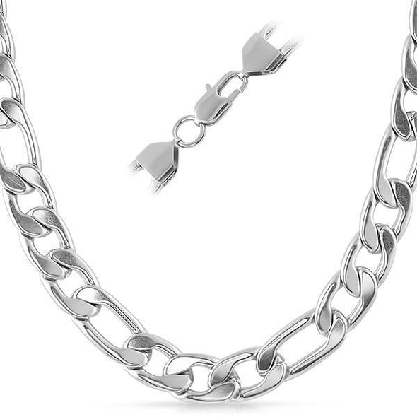 "Figaro Stainless Steel Chain Necklace 12MM (24"")"