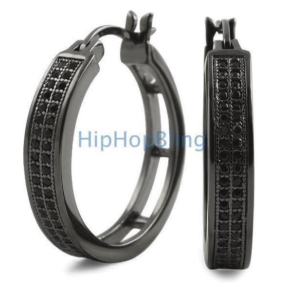 Ladies Hoops 25mm Black Double Row CZ Earrings