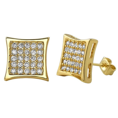 Gold Kite 50 CZ Micro Pave Earrings