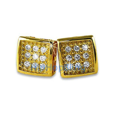Small Deep Box Gold Vermeil CZ Bling Micro Pave Earrings .925 Silver