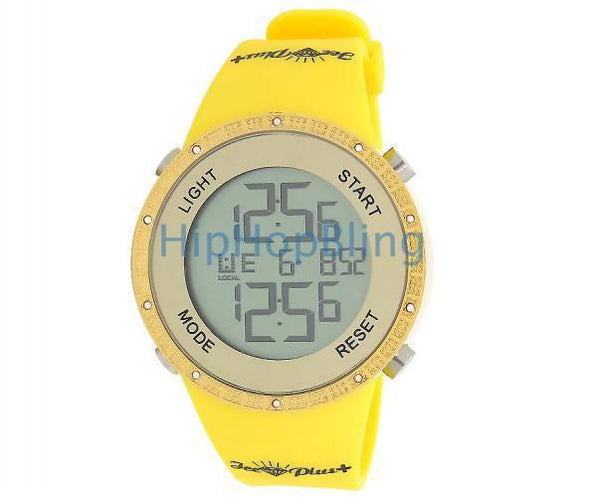 All Yellow Digital Genuine Diamond Watch Ice Plus