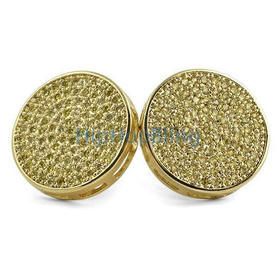 Jumbo Circle Lemonade CZ Bling Bling Earrings