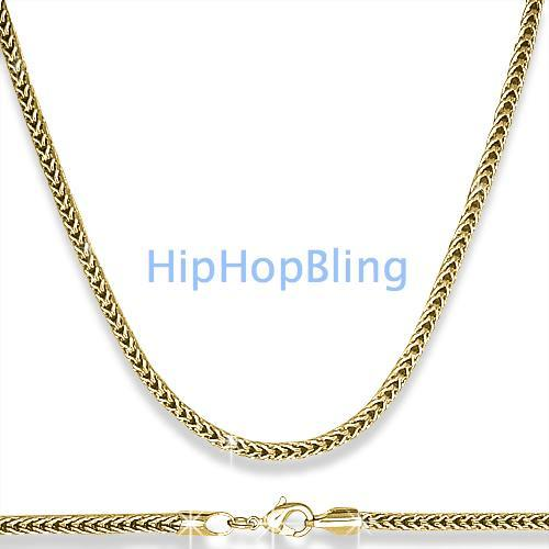 Foxtail Franco 3mm 36 Inch Gold Hip Hop Chain