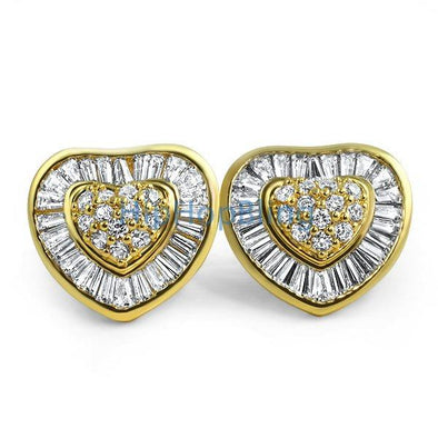 Heart XL Gold Baguette CZ Bling Bling Earrings