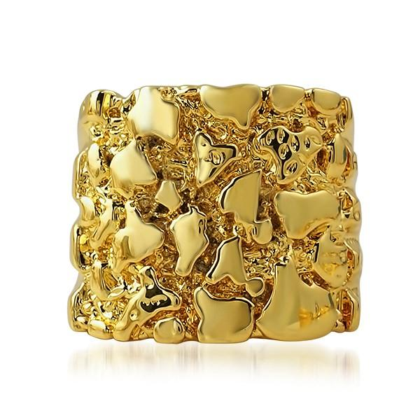 Gold Nugget Detailed Ring HipHopBling