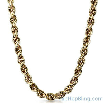 6MM Gold Plated Rope Chain Necklace